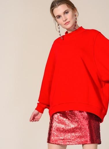 Agenda Oversize Dik Yaka Sweatshirt Kırmızı